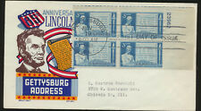 #978 Lincoln Gettysburg Address 1948  Plate # Block FDC typed addressed LOT 1132