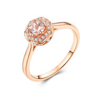 Solid 10K Rose Gold Ring Round 4.5mm Lightest Pink Morganite & Diamond Jewelry