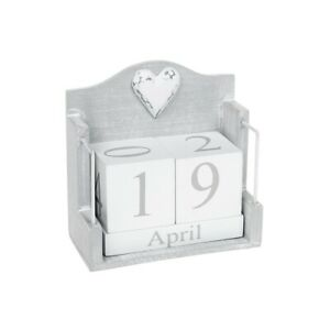 Provence Grey & White Wooden Shabby Chic Desktop Calendar Block Perpetual