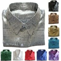 Mens Thai Silk Shirts Luxury Jacquard Weave Casual Short Sleeve S M L XL 2XL 3XL