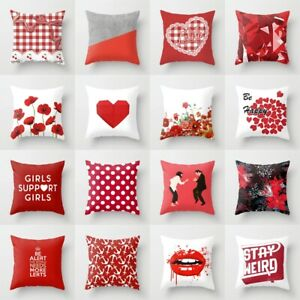 """Square Pillow Case Cushion Covers Red Plaid Floral Home Sofa Decor Soft Size 18"""""""