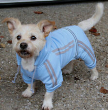 Dog tracksuit 20-50cm small- xxxlarge dogs, blue fleece, 4 legs and hood NEW