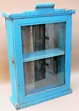 Vintage Wood Cabinet shabby Chic Curio Display Single Glass Door Original Blue