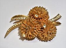 Vintage Signed CORO Goldtone Clear Rhinestones FLOWERS Shape Pin Brooch