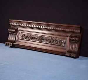 "*20"" French Antique Pediment/Crest in Carved Walnut Wood Salvage"