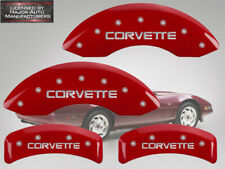 "1988-1996 Chevy ""Corvette"" Base C4 ZR-1 Front Rear Red MGP Brake Caliper Covers"