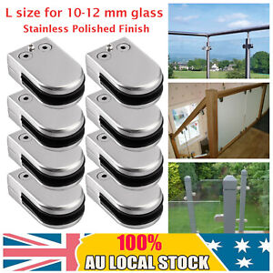 8x 10-12mm Polished SS Glass Clamp Bracket Clip Holder for Balustrade Staircase