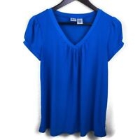 Duo Maternity Womens Top, Blue Vneck Small