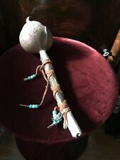 Native American Musical Instrument Hide, Wood, Shaker. Beads