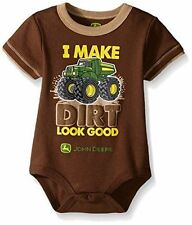 John Deere Baby One Piece Body Suit I Make Dirt Look Good Size 3-6 Months Brown