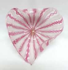 Murano Italy Latticino Pink & White Ribbon Glass Heart Shape Bowl Mint