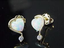 750 Gold Herz Ohrstecker mit Opalen Grösse 9,2 mm Größe der Opale 6mm 1 Paar