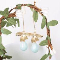 Orchid Flower Sage Green Pearl Earring Girls Ear Stud Hook Dangle Bridal Jewelry