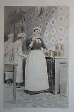 Eau-forte aquarelle pochoir La Femme à Paris Pierre Vidal Fred. Massé Uzanne 15
