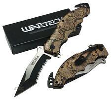 """8"""" Snakeskin Spring Assist SURGICAL STEEL Snake Scale Folding Pocket Knife 196-"""
