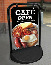 CAFE Breakfast A BOARD PAVEMENT SHOP SIGN CATERING RESTAURANT ALUMINIUM DISPLAY