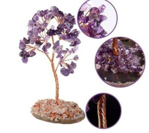 Natural Crystal Money Tree with Agate Slice Geode Stand, Amethyst Rose Quartz