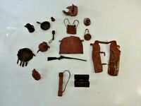 Vintage Rare Marx Johnny West Best Of The West Brown Soft Accessories 16 PC Lot