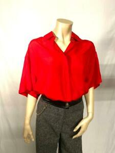 *VINTAGE* EXPRESS Red Pure Silk Short Sleeve Collared Shirt Blouse Size Small