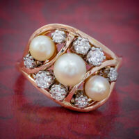 ANTIQUE EDWARDIAN PEARL DIAMOND CLUSTER RING 18CT GOLD CIRCA 1910