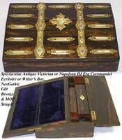 Gorgeous Antique Coromandel & Gothic Bronze, Mother of Pearl Writing Box, Slope