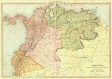 América del Sur Venezuela Colombia Ecuador Panamá. Nueva Granada. Blackie 1893 Mapa