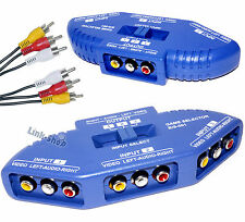 Switch Multi Box AV 3 IN 1 OUT RCA Tripla Video Audio Moltiplicatore per Segnale