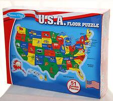 Melissa Doug Usa Extra Large Floor Puzzle 2x3 Boxed Euc Geography Boys Girls 6+