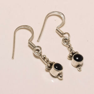 1.80Gm 925 Solid Sterling Silver Natural Black Onyx Cab Stone Fine Earring M1266
