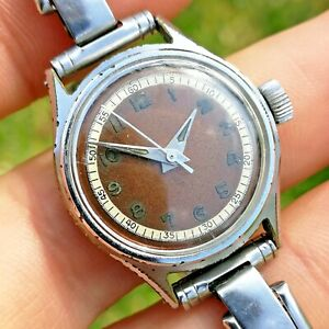 Vintage 1940s Sterile Tropical Dial Watch - Swiss Made - Runs