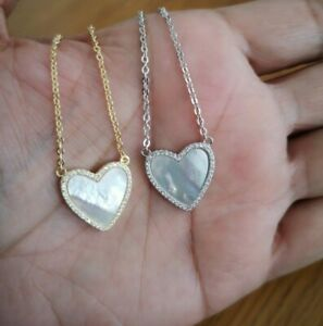 1/2 Ct Diamond Heart Pendant Mother of Pearl Pendant Necklace in 14K Gold Finish