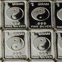 1 Gram .999 Fine Pure Silver Fractional Bullion Bar - Yin & Yang Design