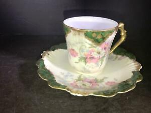 K) LIMOGES FRANCE LS&S CUP AND SAUCER GREEN PINK FLOWERS BLUE ACCENTS