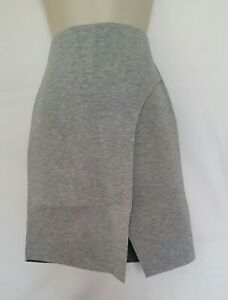 Ex Topshop Womens Smart Party Skirt Mock Fitted Wrap Grey Size 6 New