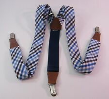 GILLMONS SUSPENDERS CLIP ON BLUE BLACK WHT CHECKER BROWN LEATHER FITTINGS