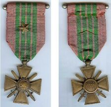 Médaille  - Croix de guerre 1939 1940 avec 1 étole bronze