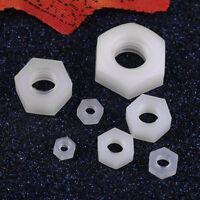 100Pcs M2/M2.5/M3/M4/M5/M6/M8 Nylon Hex Nut Plastic White Nuts Hexagonal