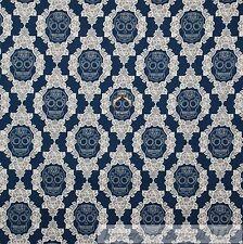 BonEful Fabric Cotton Quilt VTG Navy Blue White Rose Skeleton Skull Damask SCRAP