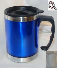 Becher Kaffee Thermo Tasse 0,45L warm & kalt ISO-Mug rostfrei Edelstah Blau   #H