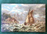 Belle petite peinture Huile Panneau Marine fin XIXe 19TH tableau signé oil 1/2