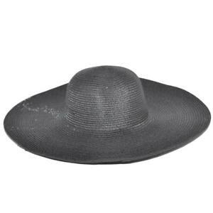 Cappello parasole di paglia nero donna elegante tesa larga sole estate flessibil