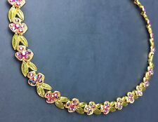 The Museum Company Necklace Multi Colored Crystal Baked Enamel Flowers