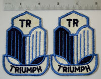 Pair (2) Triumph TR Embroidered Cloth Sew On Patch Car Auto Hot Rat Rod Vtg