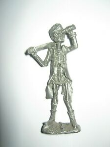 Pirate skeleton figure silver colour metal brand not known excellent cond no 1