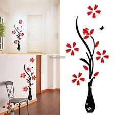 Flower Tree Crystal Arcylic Wall Stickers Art Home Room TV Decor 3D Vase DIY ED
