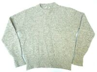 Vintage LL Bean Mens Large Wool Blend Pullover Sweater Oatmeal Beige Crew Neck