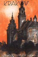 "Vintage Illustrated Travel Poster CANVAS PRINT Krakow Poland 24""X18"""