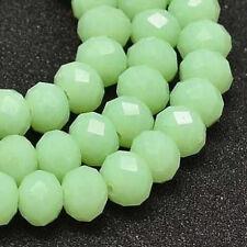 15stk Jade Perlen 8 x 6 mm Mint Grün Rondelle Facettiert Schmuck BEST G247