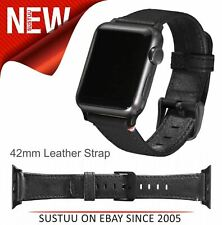 DECODED - GENUINE BLACK LEATHER 42MM STRAP FOR APPLE WATCH SERIES 1 / 2 / 3