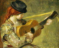 Impressionism art oil painting Young girl with black hat playing Guitar canvas